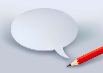Concept du message avec une bulle de bande dessinée blanche et un crayon pour s'exprimer par écrit ou présenter une demande.