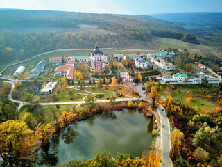 Aerial shot of Curchi Monastery at daylight
