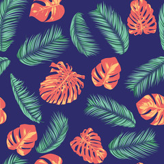 Summer Exotic Floral Tropical Palm, Philodendron Leaf. Jungle Leaf Seamless Pattern. Botanical Plants Background. Eps10 Vector. Summer Tropical Palm Wallpaper for Print, Fabric, Tile, Wallpaper, Dress