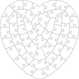heart shaped jigsaw puzzle blank template with classic style Microsoft PowerPoint Slide Templates heart shaped jigsaw puzzle blank template with irregular hand cut style transparent for vector