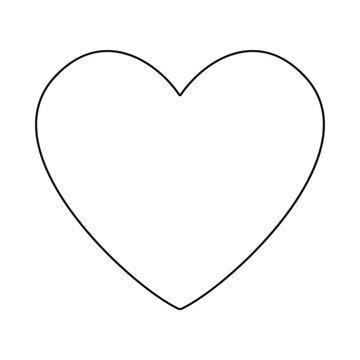 Line art black and white heart symbol