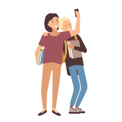 Pair of students holding books and making selfie on smartphone. Young man and woman, school friends or classmates photographing themselves on phone. Colorful vector illustration in flat cartoon style.