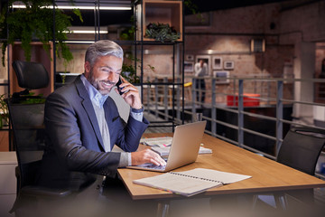 Mature businessman working in modern office, using laptop while talking on the phone