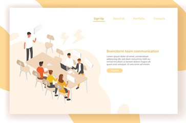 Landing page template with group of people or office workers sitting at table and talking to each other. Work meeting, discussion, team communication, brainstorm. Isometric vector illustration.