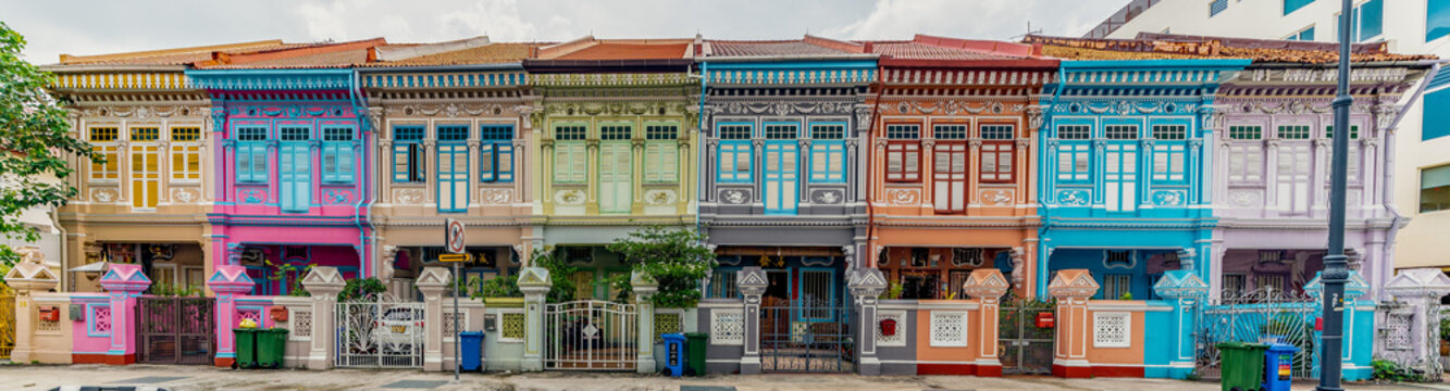 Wide panorama image of Colorful Peranakan House at Katong, Singapore