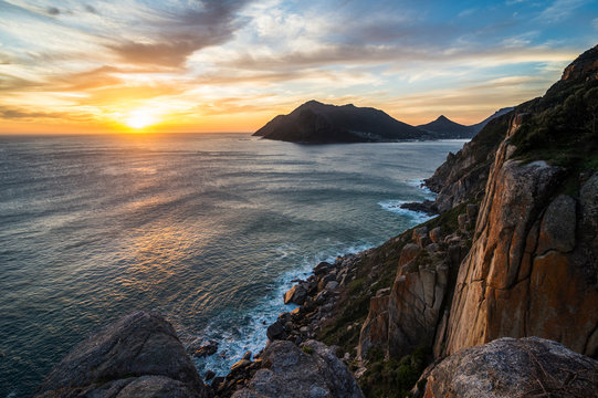 South Africa, Sunset over Hout Bay, Cape of Good Hope