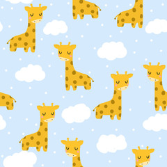 Seamless pattern with cute giraffe. For printing on children's clothes. Hand-drawn. Giraffe and clouds.