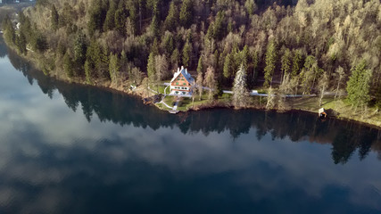Aerial view of the Bled Lake, Slovenia