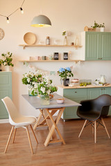 bright kitchen in loft style