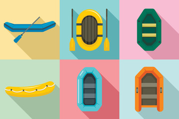 Inflatable boat icon set. Flat set of inflatable boat vector icons for web design
