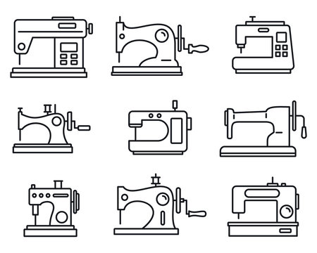 Fabric sew machine icon set. Outline set of fabric sew machine vector icons for web design isolated on white background
