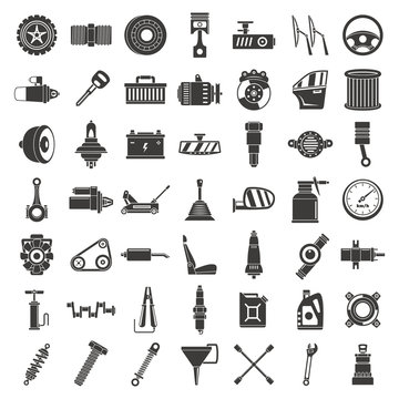 Motor car part icon set. Simple set of motor car part vector icons for web design on white background