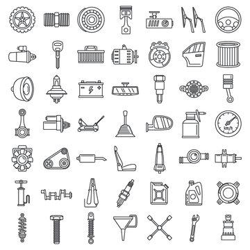 Maintenance car part icon set. Outline set of maintenance car part vector icons for web design isolated on white background