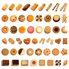 Biscuit icon set. Cartoon set of biscuit vector icons for web design