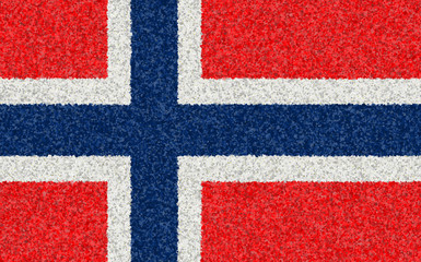 Graphic illustration of a Norwegian flag with a flower pattern