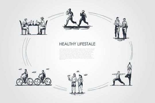 Healthy lifestyle - people jogging, walking, doing yoga, sunbathing, riding bicycles and drinking tea vector concept set