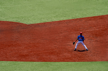 Baseball players in action on the stadium