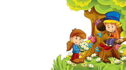 cartoon autumn nature background with kids having fun with space for text - illustration for children