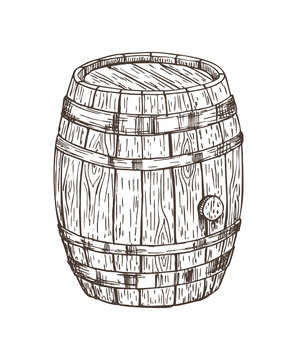 Wooden Keg for Alcohol Drinks Isolated Graphic Art