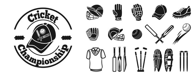 Cricket icon set. Simple set of cricket vector icons for web design on white background