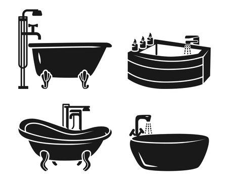 Bathtub icon set. Simple set of bathtub vector icons for web design on white background