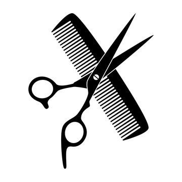 Schere, Kamm, Friseur, Icon, Logo