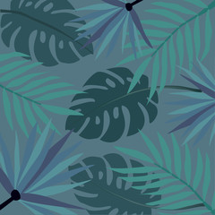 Tropical pattern with stylized leaves