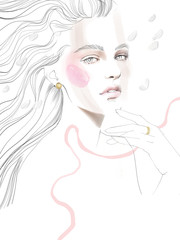 Young beautiful woman fashion-illustration watercolour draw portrait