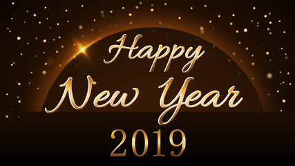 Happy New Year background. Magic gold rain and globe. Golden numbers 2019 on horizon. Christmas planet design. Light, glow and sparkle, glitter. Symbol of wish, celebration. Vector illustration