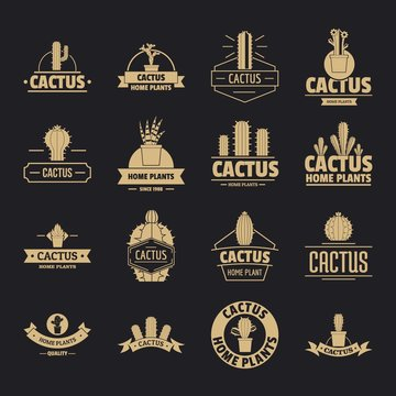 Cactus logo icons set. Simple illustration of 16 cactus logo vector icons for web