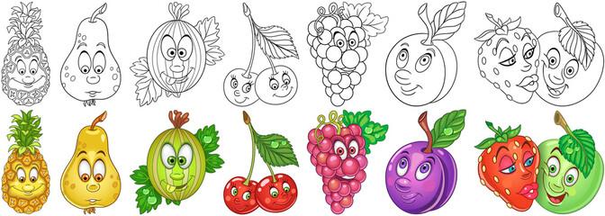 Cartoon fruits set