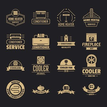 Heating cooling logo icons set. Simple illustration of 16 heating cooling logo vector icons for web