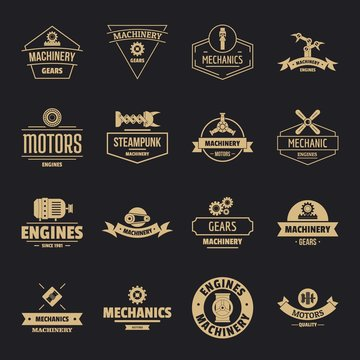 Mechanics logo icons set. Simple illustration of 16 mechanics logo vector icons for web