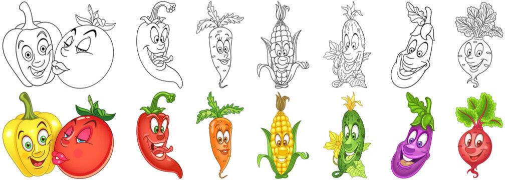 Cartoon vegetables set