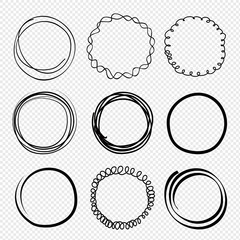 Hand drawn circles. Sketched scribble rings. Doodle round frames, circular stoke set illustration