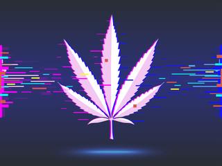 Marijuana, cannabis logo on blue background. glitch design. vector illustration