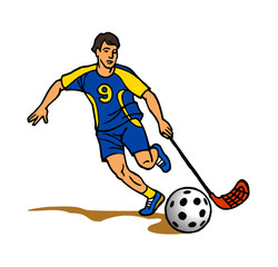 floorball player with hockey stick and ball shoots a goal clipart