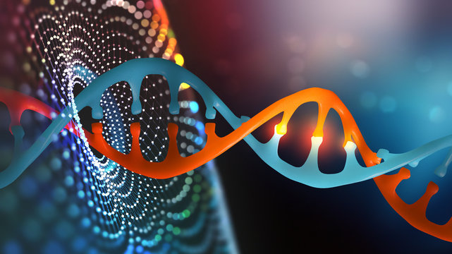 DNA helix. Innovative technologies in the study of the human genome. Artificial intelligence in the medicine of the future. 3D illustration of a DNA molecule with a nanotech network