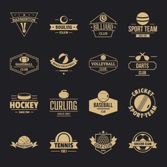 Sport balls logo icons set. Simple illustration of 16 sport balls logo vector icons for web