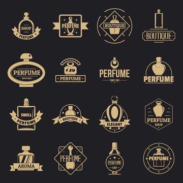 Perfume bottles logo icons set. Simple illustration of 16 perfume bottles logo vector icons for web