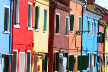 colored houses in the Burano Isle near Venice in Italy