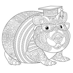 zentangle guinea pig coloring page