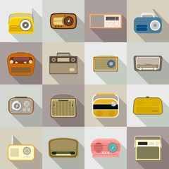 Radio icon set. Flat set of radio vector icons for web design