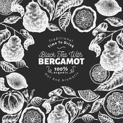 Bergamot branch design template. Kaffir lime frame. Hand drawn vector fruit illustration on chalk board. Engraved style vintage citrus background.