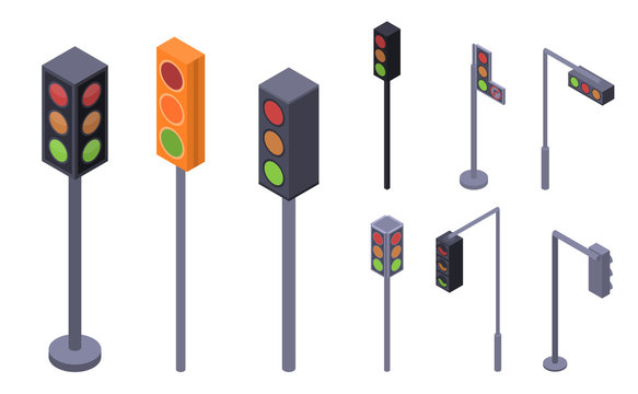 Traffic lights icon set. Isometric set of traffic lights vector icons for web design isolated on white background