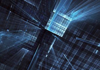 Abstract 3D fractal background, texture. Virtual Neon City