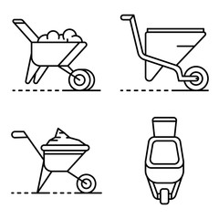 Wheelbarrow icon set. Outline set of wheelbarrow vector icons for web design isolated on white background