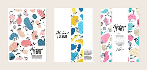 Set of vector templates. Hand drawn abstract shapes with different textures, spots and decorative elements. It can be used as book, notebook or magazine cover, brochure, booklet, annual report, flyer