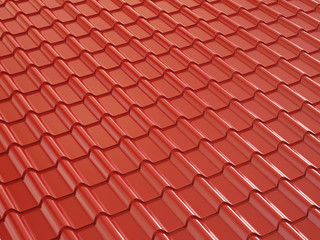Red metal roof tile. 3d illustration.