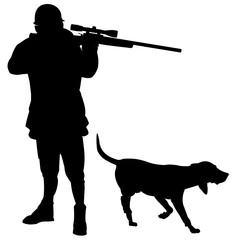 People-Hunter Silhouette With a Hound Dog